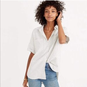 Madewell Flannel Courier Shirt in Stripe- XXS